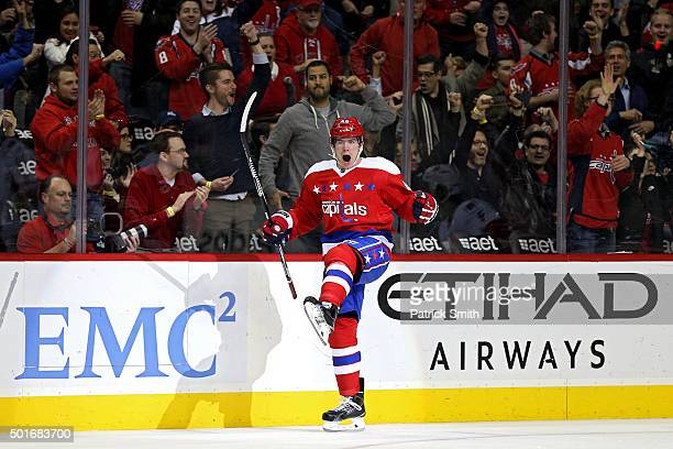 Michael Latta of the Washington Capitals celebrates after scoring a first period goal against the Ottawa Senators at Verizon Center on December 16...