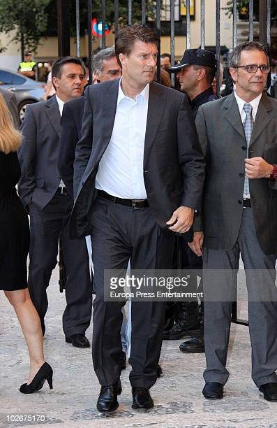Michael Laudrup attends the funeral for Felix Pons a former president of the Spanish Parliament on July 7 2010 in Mallorca Spain