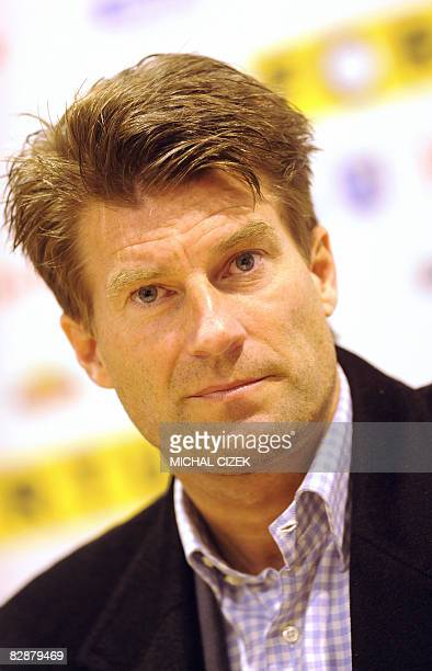 Michael Laudrup, headcoach of Spartak Moscow, answers journalists after their UEFA Cup first round first leg football match against Banik Ostrava on...