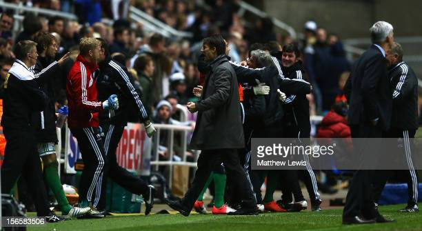 Michael Laudrup, manager of Swansea City celebrates his teams second goal during the Barclays Premier League match between Newcastle United and...