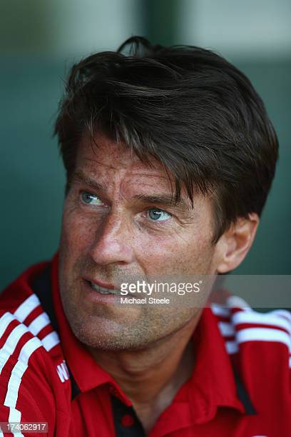 Michael Laudrup manager of Swansea City during the Pre Season friendly match between Yeovil Town and Swansea City at Huish Park on July 19 2013 in...