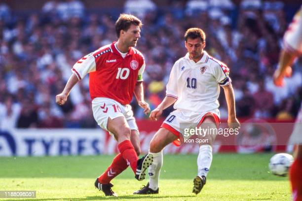 Michael Laudrup of Denmark and Zvonimir Boban of Croatia during the European Championship match between Croatia and Denmark at Hillsborough,...