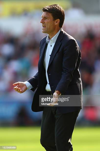 Michael Laudrup the manager of Swansea City during the Barclays Premier League match between Swansea City and Everton at the Liberty Stadium on...