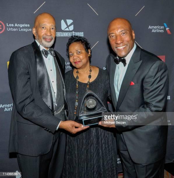 Michael Lawson ESQ Mattie McFaddenLawson and Byron Allen attend Byron Allen Honored by Los Angeles Urban League on April 18 2019 in Hollywood...