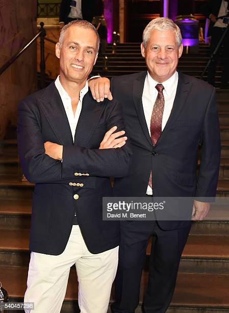 Michael Le Poer Trench and Sir Cameron Mackintosh attend the press night after party for Disney's 'Aladdin' at The The National Gallery on June 15...