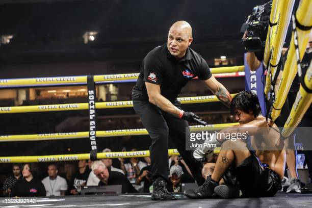 Michael Le recovers after his knockout loss during LivexLive's Social Gloves: Battle Of The Platforms PPV Livestream at Hard Rock Stadium on June 12,...