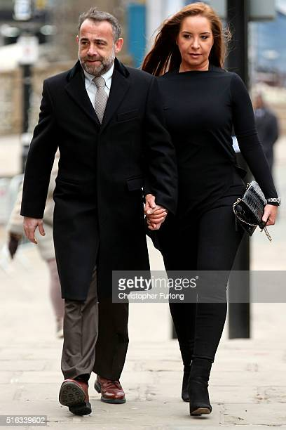 Michael Le Vell and his partner Louise Gibbons arrive for the funeral of Coronation Street scriptwriter Tony Warren at Manchester Cathedral on March...