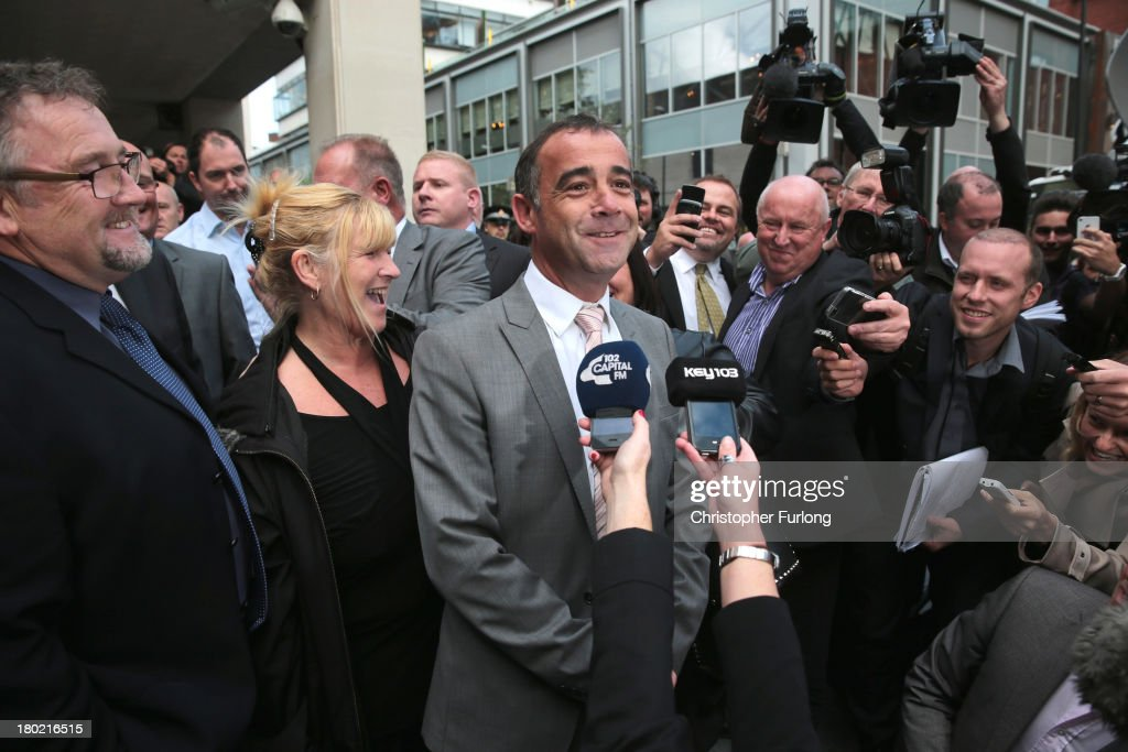 Michael Le Vell, who plays Kevin Webster in the TV soap Coronation Street, makes a statement to the press after being found not guilty at Manchester Crown Court for alleged child sex offences on September 10, 2013 in Manchester, England. The actor was found not guilty by the jury of 12 charges of sex offences against children.