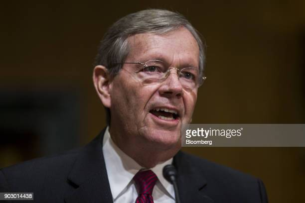 Michael Leavitt former secretary of Health and Human Services speaks during a Senate Finance Committee confirmation hearing for Alex Azar secretary...