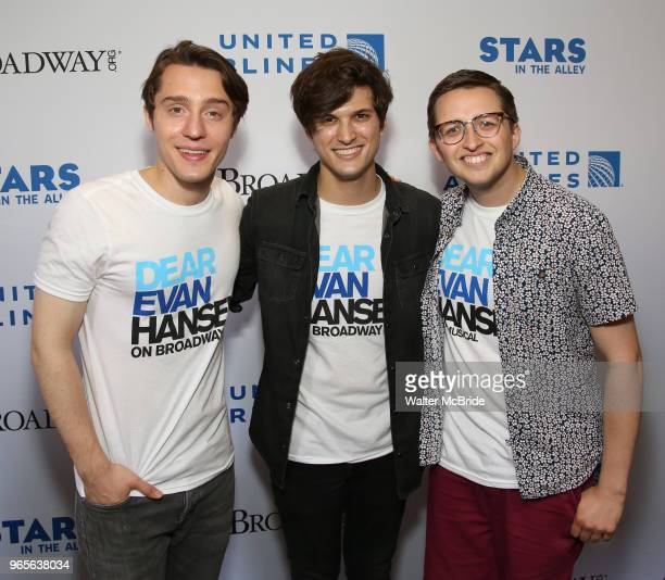 Michael Lee Brown Alex Boniello and Will Roland attend the United Airlines Presents #StarsInTheAlley Produced By The Broadway League on June 1 2018...