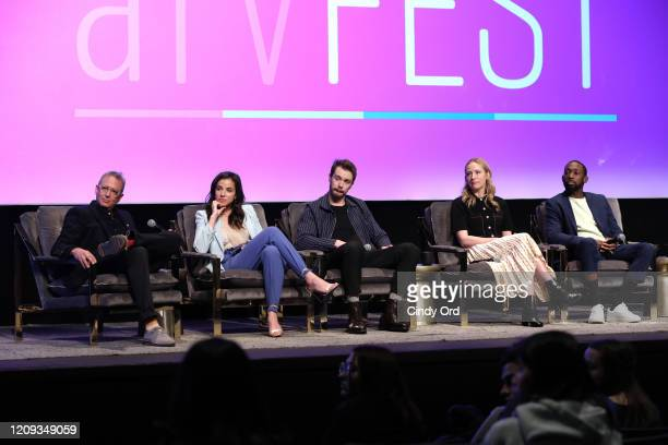 Michael Lehmann Cristina Rodlo Sam Keeley Beth Riesgraf and Jeremy Tardy attend the SCAD aTVfest 2020 68 Whiskey Press Junket on February 28 2020 in...