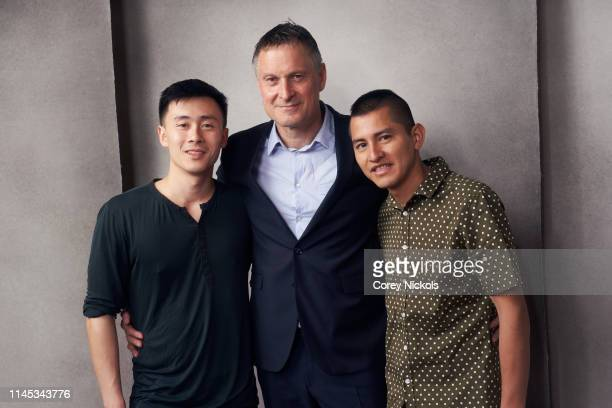 Michael Lei Claus Meyer and Kenzo Hirose of the film 'A Taste of Sky' poses for a portrait during the 2019 Tribeca Film Festival at Spring Studio on...