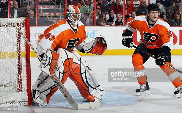Michael Leighton and Matt Carle of the Philadelphia Flyers skate against the Toronto Maple Leafs on March 7 2010 at Wachovia Center in Philadelphia...