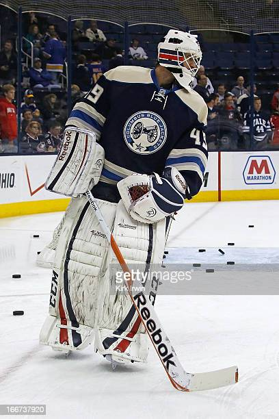 Michael Leighton of the Columbus Blue Jackets warms up prior to the start of the game against the St Louis Blue on April 12 2013 at Nationwide Arena...