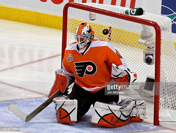 Michael Leighton of the Philadelphia Flyers lets in a goal by Duncan Keith of the Chicago Blackhawks in Game Three of the 2010 NHL Stanley Cup Final...