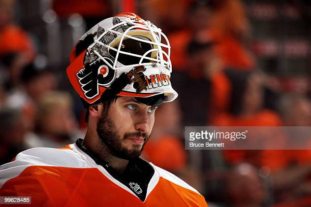 Michael Leighton of the Philadelphia Flyers looks on against the Montreal Canadiens in Game 1 of the Eastern Conference Finals during the 2010 NHL...