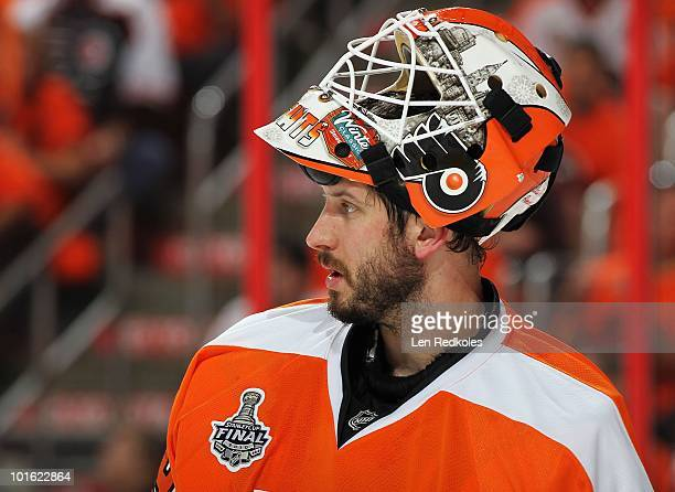 Michael Leighton of the Philadelphia Flyers looks on during a stoppage in play against the Chicago Blackhawks in Game Three of the 2010 NHL Stanley...