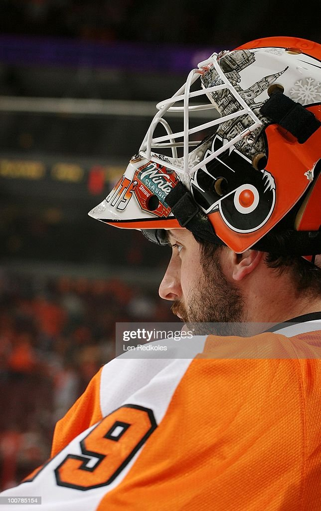 Michael Leighton #49 of the Philadelphia Flyers looks on during the pregame warm-ups prior to the start of the game against the Montreal Canadiens in Game Five of the Eastern Conference Finals during the 2010 NHL Stanley Cup Playoffs at the Wachovia Center on May 24, 2010 in Philadelphia, Pennsylvania.