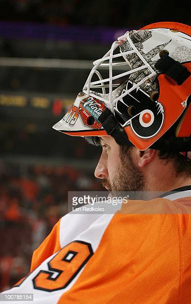 Michael Leighton of the Philadelphia Flyers looks on during the pregame warmups prior to the start of the game against the Montreal Canadiens in Game...