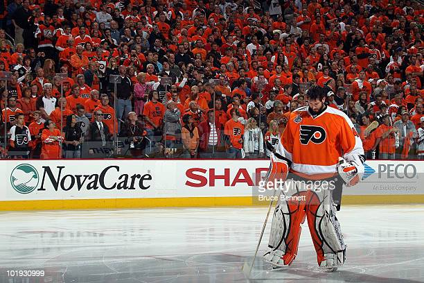 Michael Leighton of the Philadelphia Flyers stands on the ice during warmups before Game Six of the 2010 NHL Stanley Cup Final against the Chicago...