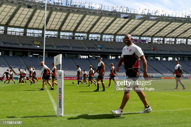 Michael Leitch of Japan looks on during the Japan Captain's Run at the Tokyo Stadium on September 19, 2019 in Chofu, Tokyo, Japan.