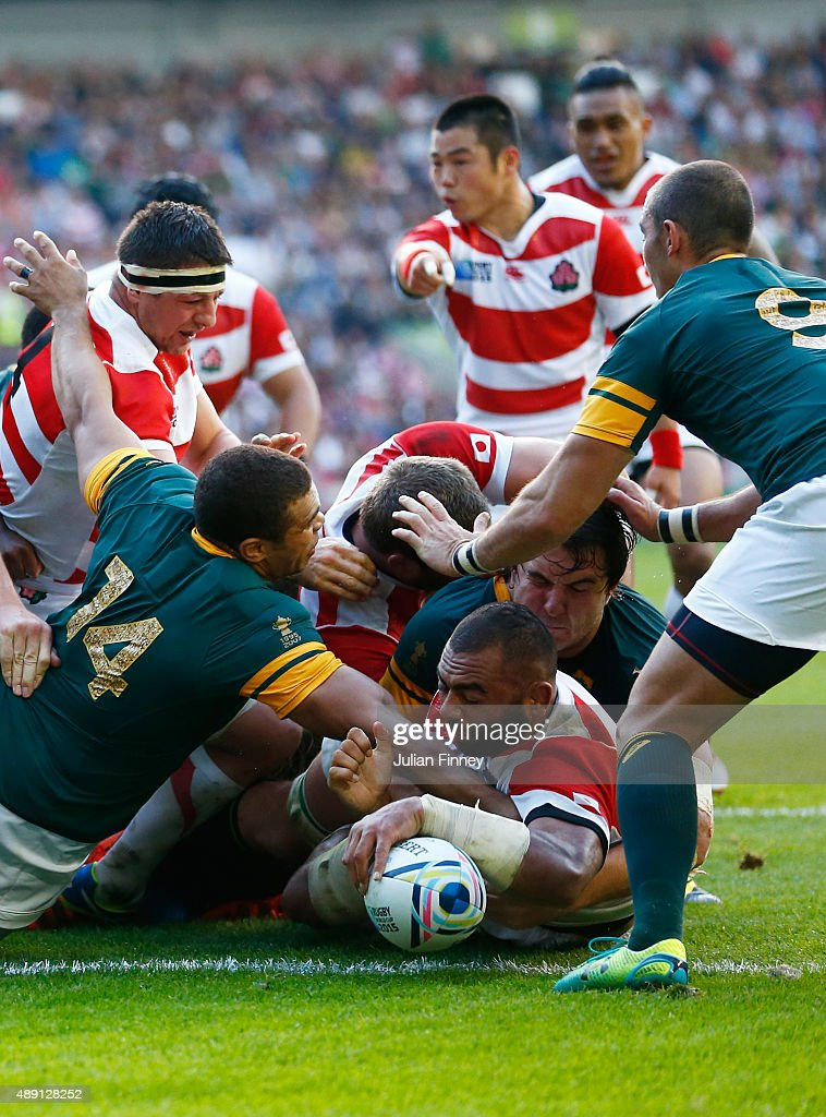Michael Leitch of Japan scores the first try for his team during the 2015 Rugby World Cup Pool B match between South Africa and Japan at the Brighton Community Stadium on September 19, 2015 in Brighton, United Kingdom.