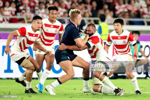 Michael Leitch of Japan tackles during the Rugby World Cup 2019 Group A game between Japan and Scotland at International Stadium Yokohama on October...