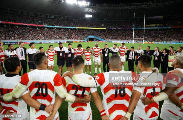 Michael Leitch of Japan talks to his team after the Rugby World Cup 2019 Quarter Final match between Japan and South Africa at the Tokyo Stadium on...