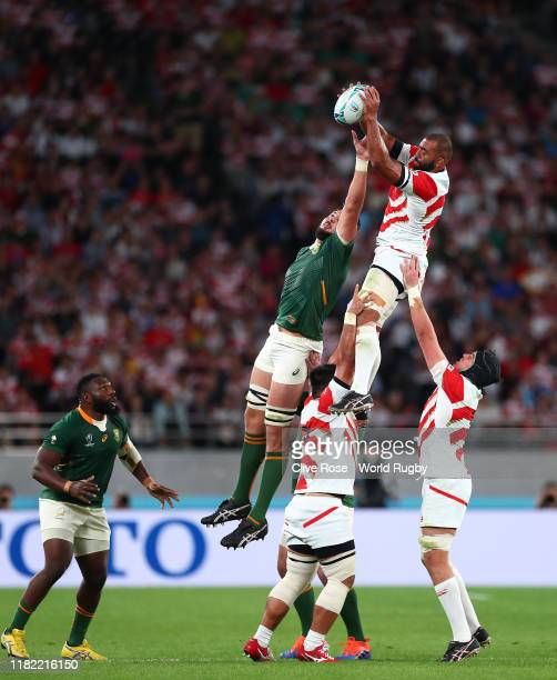 Michael Leitch of Japan wins the ball in the lineout during the Rugby World Cup 2019 Quarter Final match between Japan and South Africa at the Tokyo...