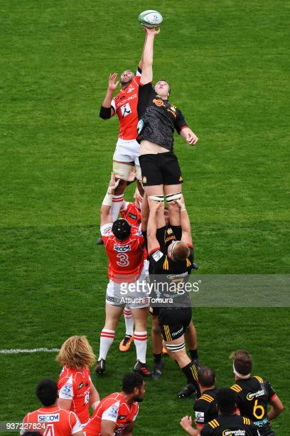 Michael Leitch of Sunwolves and Brodie Retallick of Chiefs fight for the ball at lineout during the Super Rugby match between Sunwolves and Chiefs at...