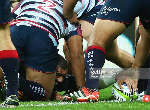 Michael Leitch of the Chiefs scores a try during the round 12 Super Rugby match between the Rebels and the Chiefs at AAMI Park on May 2 2015 in...