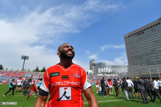 Michael Leitch of the Sunwolves celebrates winning after the Super Rugby match between Sunwolves and Reds at Prince Chichibu Memorial Ground on May...