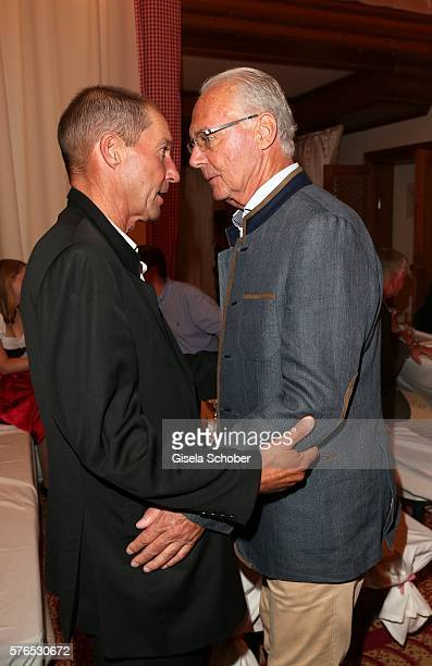 Michael Lesch and Franz Beckenbauer during a bavarian evening ahead of the Kaiser Cup 2016 on July 15 2016 in Bad Griesbach near Passau Germany
