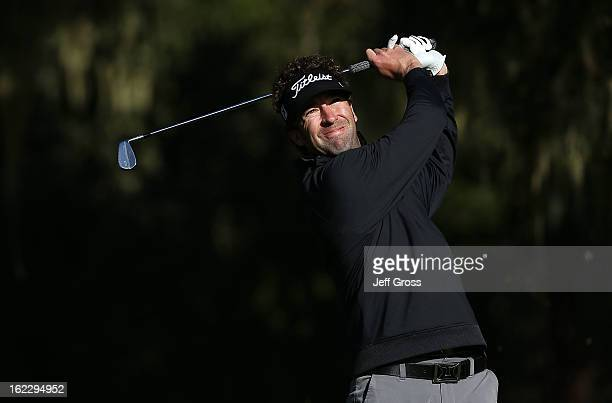 Michael Letzig hits a shot during the third round of the ATT Pebble Beach National ProAm at Monterey Peninsula Country Club on February 9 2013 in...