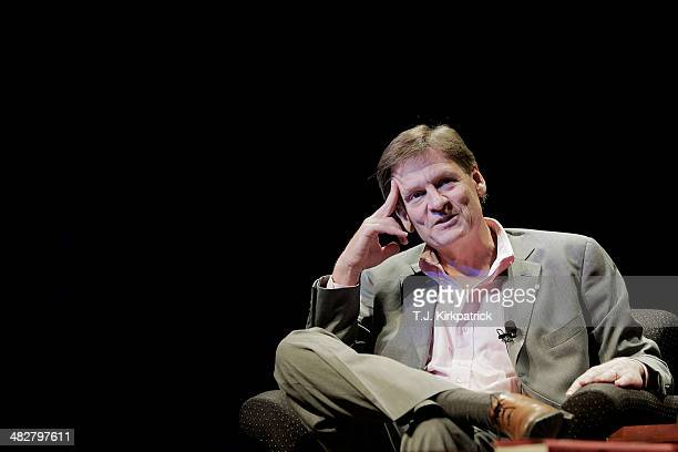 Michael Lewis a financial journalist and author participates in a discussion in the Newsmaker Series of talks at George Washington University on...
