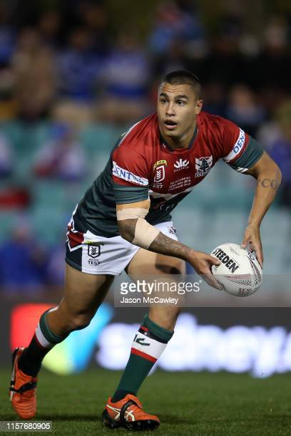 Michael Lichaa of Lebanon looks to pass during the Pacific International Test Match between Fiji and Lebanon at Leichhardt Oval on June 22, 2019 in...