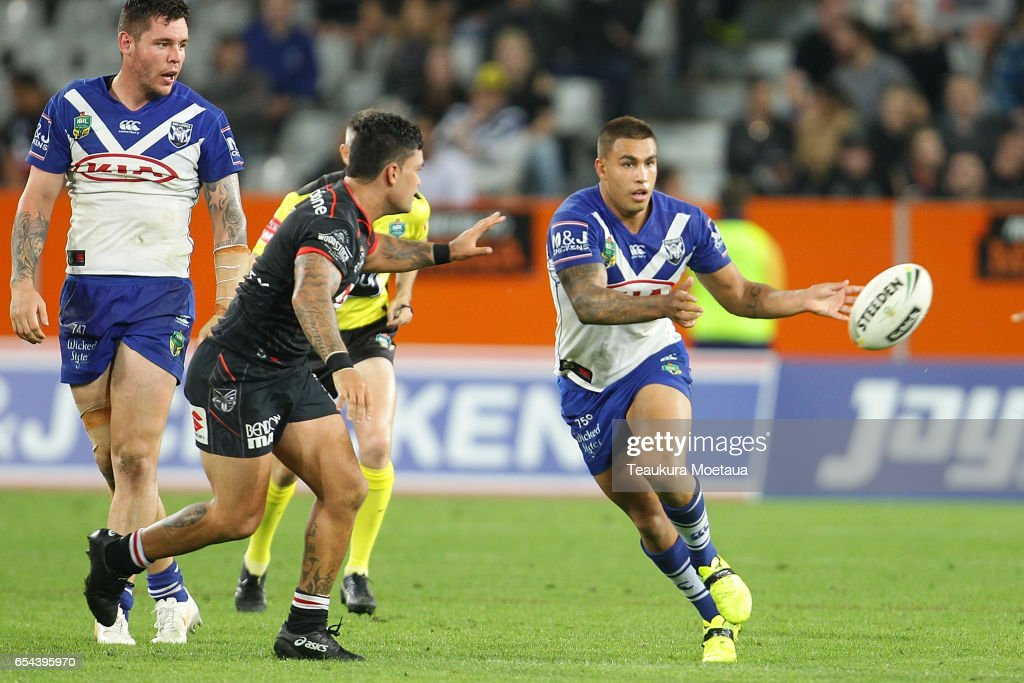 Michael Lichaa of the Bulldogs passes during the round three NRL match between the Bulldogs and the Warriors at Forsyth Barr Stadium on March 17, 2017 in Dunedin, New Zealand.