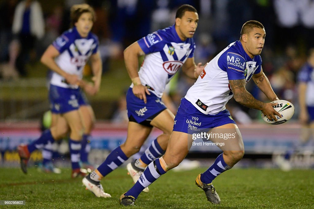 Michael Lichaa of the Bulldogs runs the ball during the round 17 NRL match between the Canterbury Bulldogs and the Canberra Raiders at Belmore Sports Ground on July 7, 2018 in Sydney, Australia.