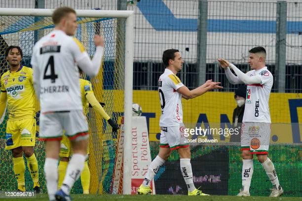 Michael Liendl and Dario Vizinger of Wolfsberg celebrate after scoring a goale during the tipico Bundesliga match between spusu SKN St. Pölten and RZ...