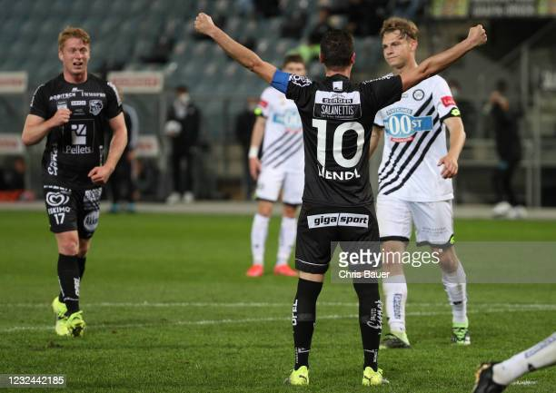 Michael Liendl of RZ Pellets WAC celebrates scoring a goal during the tipico Bundesliga match between SK Puntigamer Sturm Graz and Wolfsberger AC at...