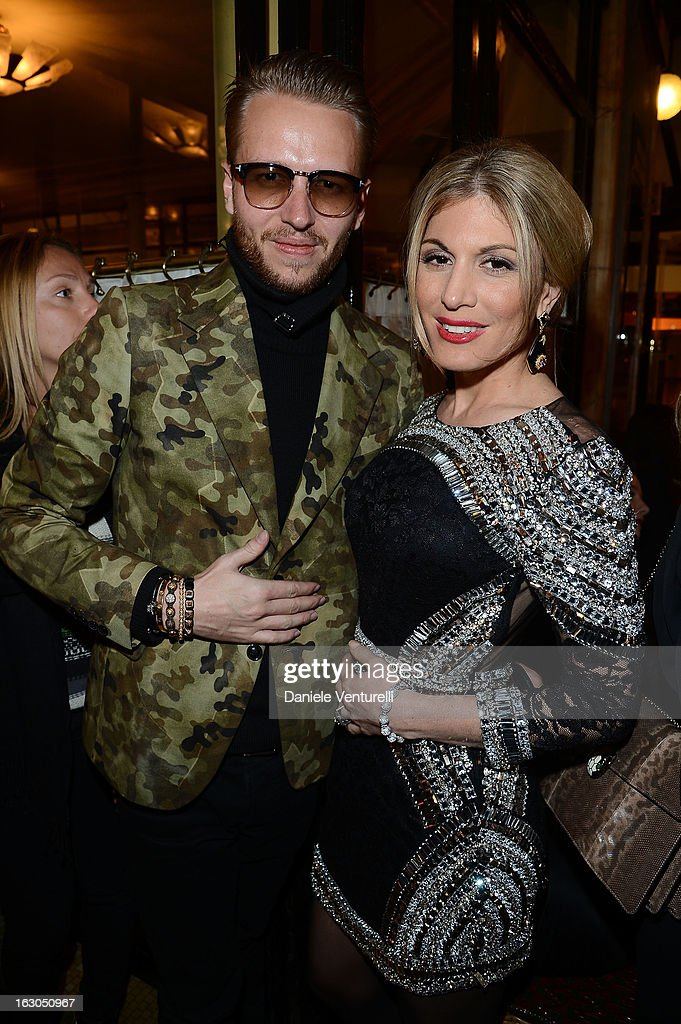 Michael Lillelund and Hofit Golan attends the Bulgari And Purple Magazine Party at Cafe de Flore on March 3, 2013 in Paris, France.