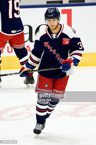 Michael Lindqvist of the Hartford Wolf Pack skates in warmup prior to a game against the Toronto Marlies during AHL game action on October 20, 2018...