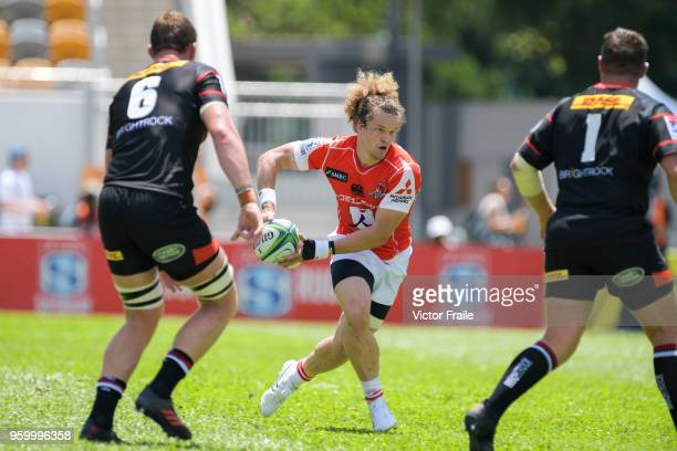 Michael Little of Sunwolves moves the ball up against Stormers during the Super Rugby match between Sunwolves and Stormers at Mong Kok Stadium on May...