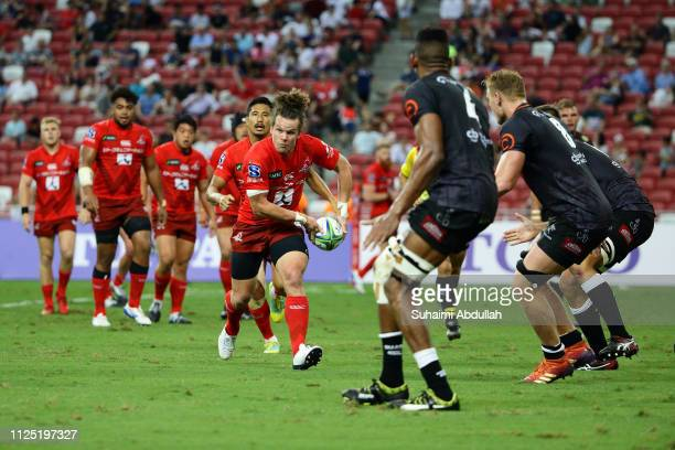 Michael Little of Sunwolves runs with the ball during the Super Rugby match between Sunwolves and Sharks at Singapore National Stadium on February 16...