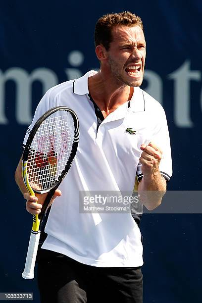 Michael Llodra of France celebrates match point against Santiago Giraldo of Columbia during the Rogers Cup at the Rexall Centre on August 10 2010 in...