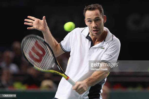 Michael Llodra of France in action against Robin Soderling of Sweden in the semi-final during Day Seven of the ATP Masters Series Paris at the Palais...