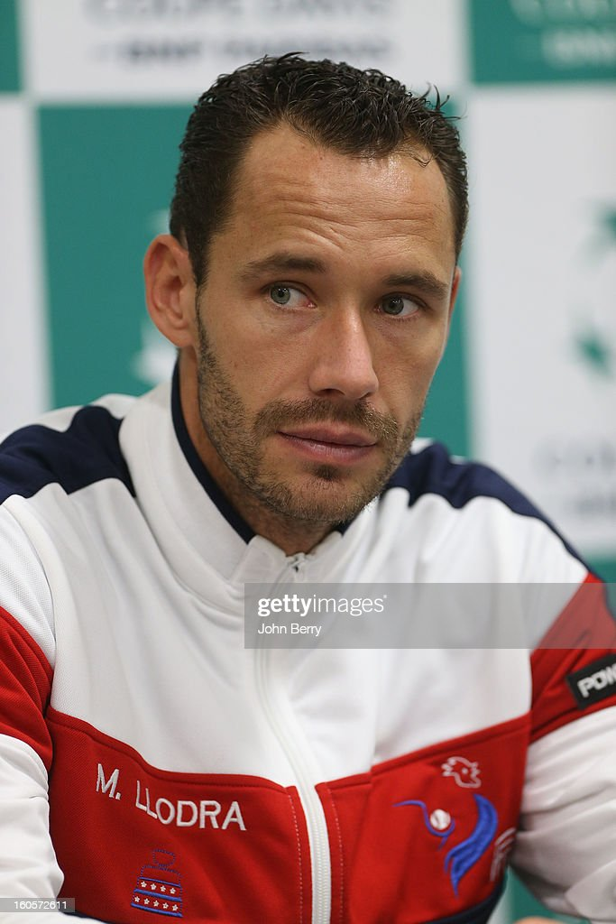 Michael Llodra of France speaks to the press on day two of the Davis Cup first round match between France and Israel at the Kindarena stadium on February 2, 2013 in Rouen, France.