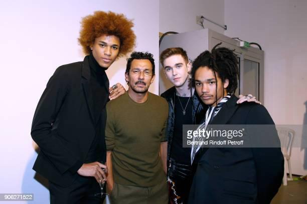 Michael Lockley Stylist Haider Ackermann GabrielKane DayLewis and Luka Sabbat pose after the Haider Ackermann Menswear Fall/Winter 20182019 show as...