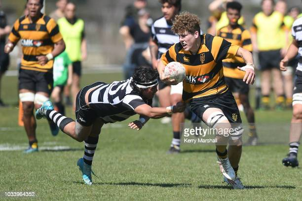 Michael Loft of Taranaki in action during the Jock Hobbs U19 Rugby Tournament on September 15 2018 in Taupo New Zealand