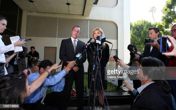 Michael Lohan Lindsay Lohan's father and his lawyer Lisa Bloom answer to the journalists infront of the Courthouse in Beverly Hills California